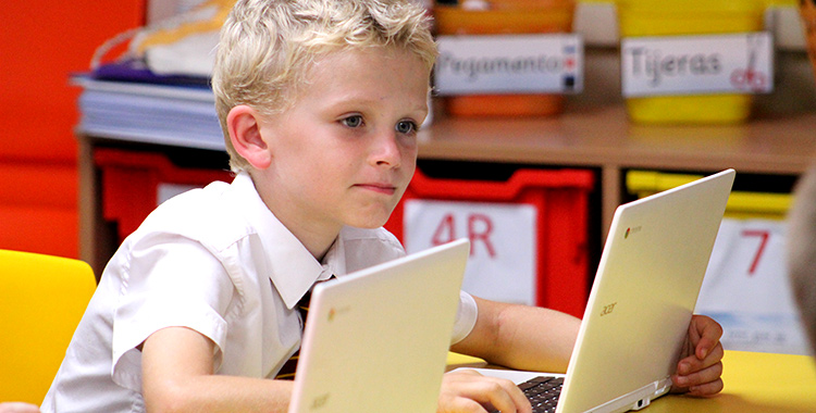 One of Felsted Prep's pupils working on a laptop