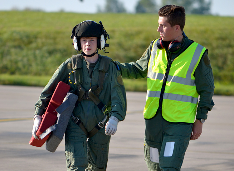 A Felsted Cadet in a flight suit